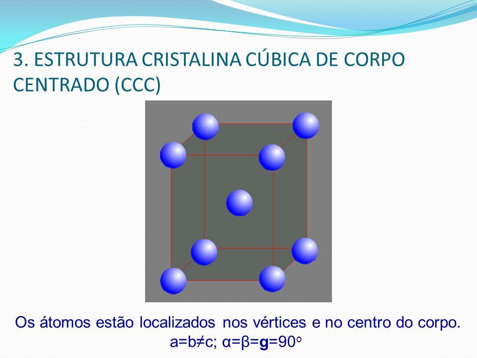 3. ESTRUTURA CRISTALINA CÚBICA DE CORPO CENTRADO (CCC) Os átomos estão localizados nos vértices e no centro do corpo. a=bc; α=β=g=90 o