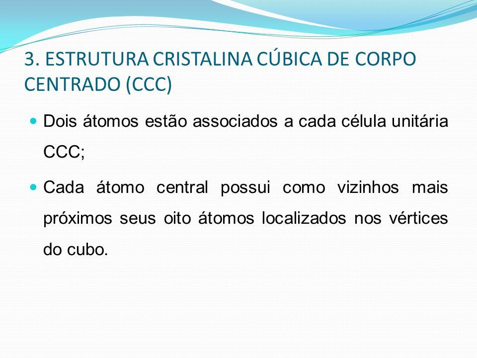 3. ESTRUTURA CRISTALINA CÚBICA DE CORPO CENTRADO (CCC) Dois átomos estão associados a cada célula unitária CCC; Cada átomo central possui como vizinho