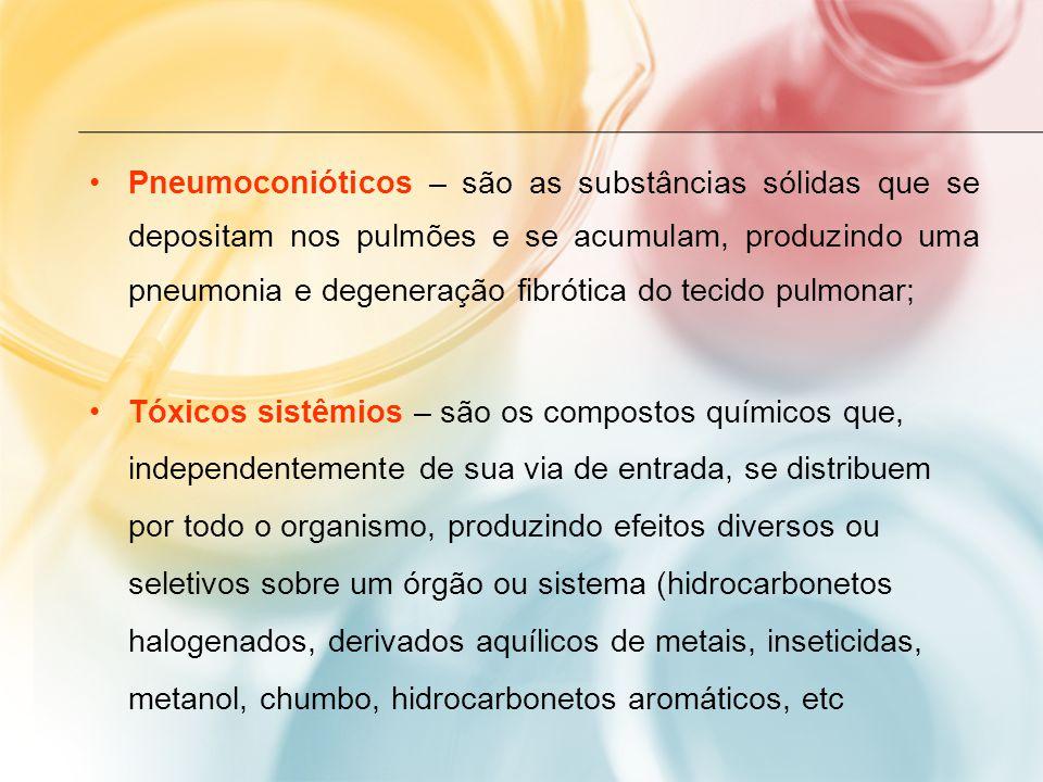 Pneumoconióticos – são as substâncias sólidas que se depositam nos pulmões e se acumulam, produzindo uma pneumonia e degeneração fibrótica do tecido pulmonar; Tóxicos sistêmios – são os compostos químicos que, independentemente de sua via de entrada, se distribuem por todo o organismo, produzindo efeitos diversos ou seletivos sobre um órgão ou sistema (hidrocarbonetos halogenados, derivados aquílicos de metais, inseticidas, metanol, chumbo, hidrocarbonetos aromáticos, etc