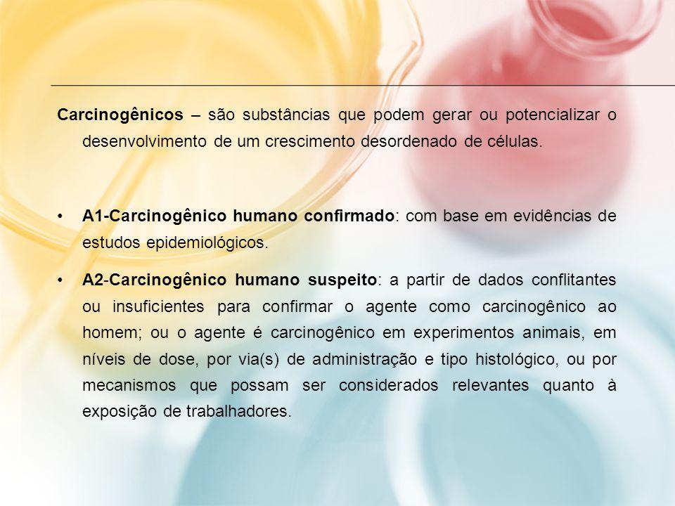 Carcinogênicos – são substâncias que podem gerar ou potencializar o desenvolvimento de um crescimento desordenado de células. A1-Carcinogênico humano