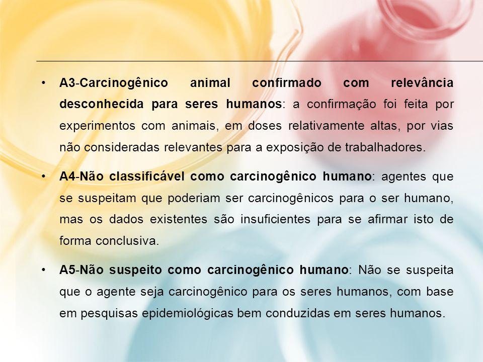 A3-Carcinogênico animal confirmado com relevância desconhecida para seres humanos: a confirmação foi feita por experimentos com animais, em doses relativamente altas, por vias não consideradas relevantes para a exposição de trabalhadores.