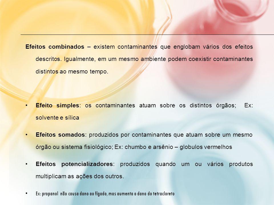 Efeitos combinados – existem contaminantes que englobam vários dos efeitos descritos. Igualmente, em um mesmo ambiente podem coexistir contaminantes d