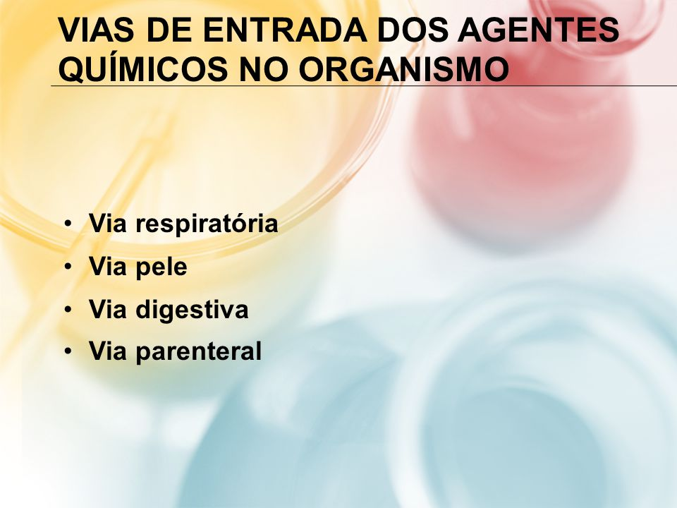 VIAS DE ENTRADA DOS AGENTES QUÍMICOS NO ORGANISMO Via respiratória Via pele Via digestiva Via parenteral