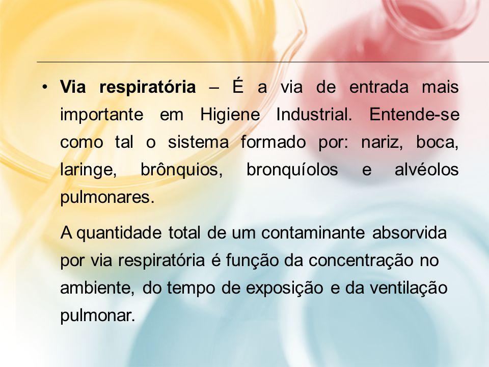 Via respiratória – É a via de entrada mais importante em Higiene Industrial. Entende-se como tal o sistema formado por: nariz, boca, laringe, brônquio