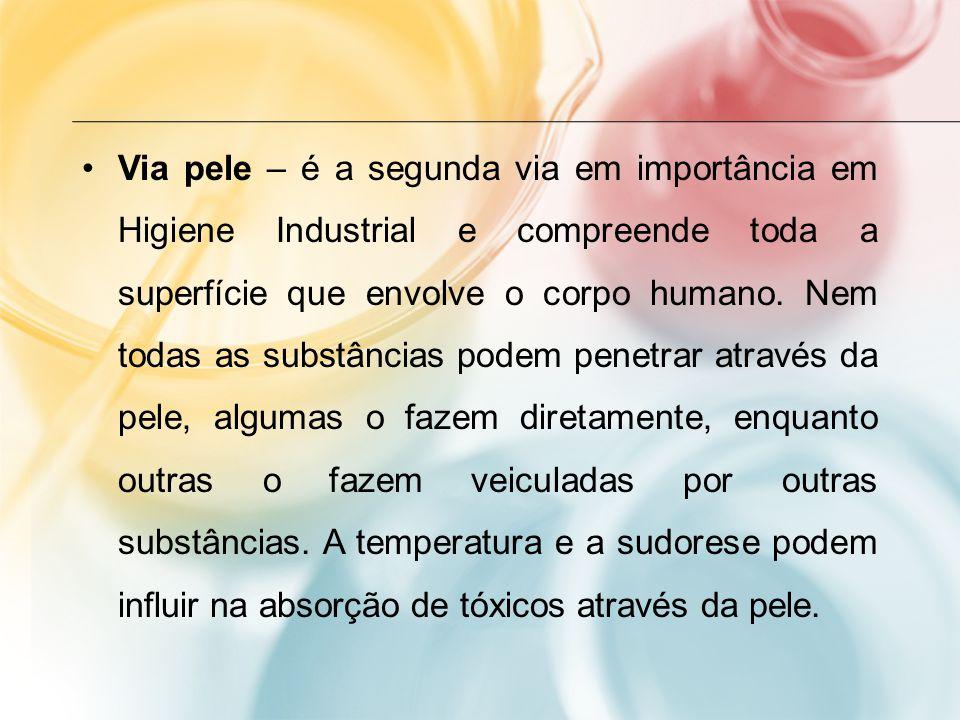 Via pele – é a segunda via em importância em Higiene Industrial e compreende toda a superfície que envolve o corpo humano. Nem todas as substâncias po