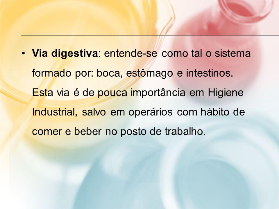 Via digestiva: entende-se como tal o sistema formado por: boca, estômago e intestinos. Esta via é de pouca importância em Higiene Industrial, salvo em
