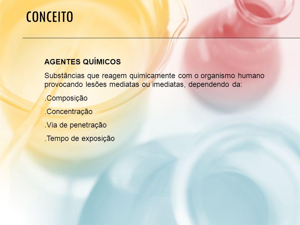 AGENTES QUÍMICOS Substâncias que reagem quimicamente com o organismo humano provocando lesões mediatas ou imediatas, dependendo da:.Composição.Concentração.Via de penetração.Tempo de exposição CONCEITO