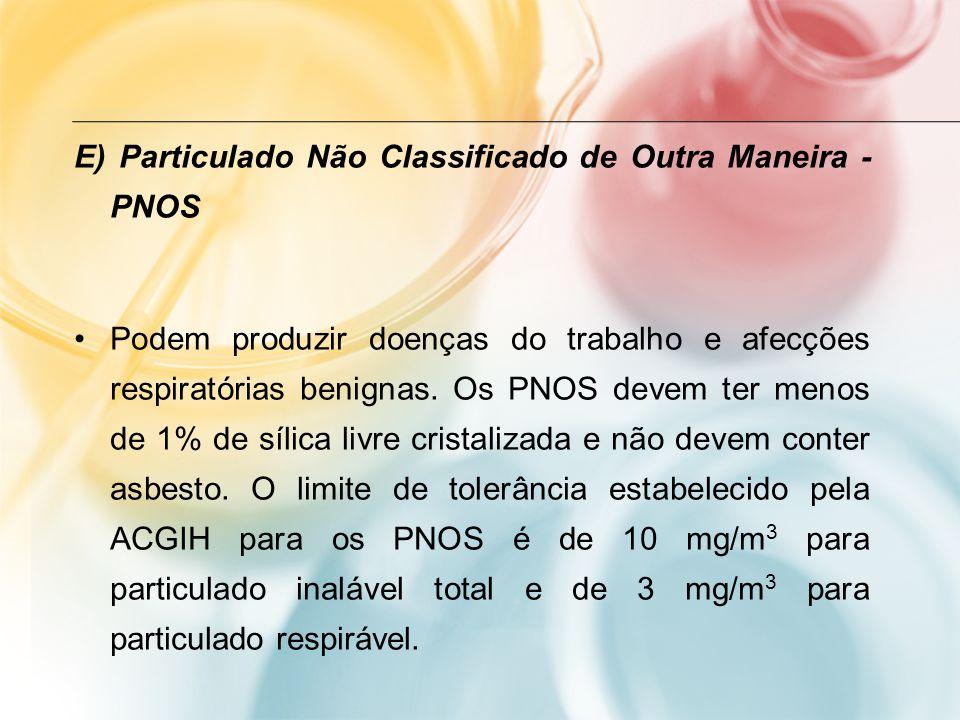 E) Particulado Não Classificado de Outra Maneira - PNOS Podem produzir doenças do trabalho e afecções respiratórias benignas. Os PNOS devem ter menos