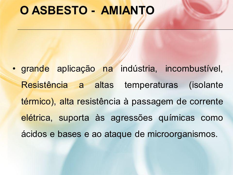 O ASBESTO - AMIANTO grande aplicação na indústria, incombustível, Resistência a altas temperaturas (isolante térmico), alta resistência à passagem de