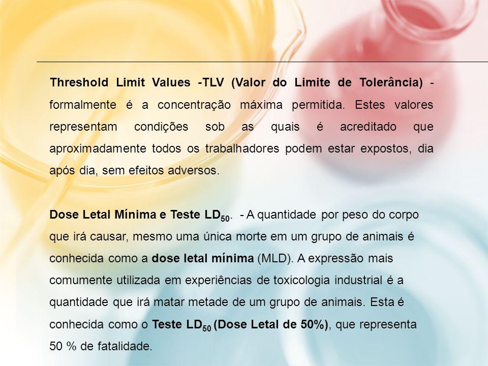 Threshold Limit Values -TLV (Valor do Limite de Tolerância) - formalmente é a concentração máxima permitida. Estes valores representam condições sob a