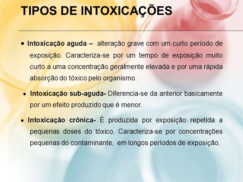 TIPOS DE INTOXICAÇÕES Intoxicação aguda – alteração grave com um curto período de exposição. Caracteriza-se por um tempo de exposição muito curto a um