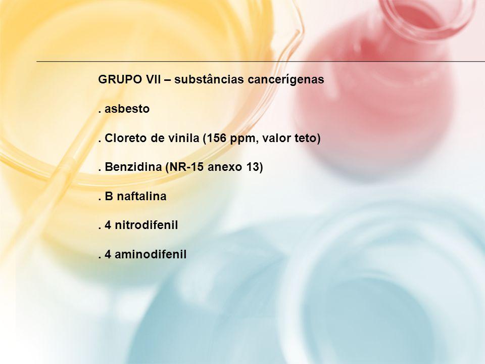 GRUPO VII – substâncias cancerígenas. asbesto. Cloreto de vinila (156 ppm, valor teto). Benzidina (NR-15 anexo 13). B naftalina. 4 nitrodifenil. 4 ami