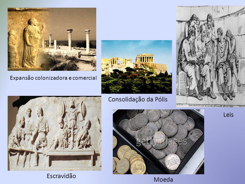 Consolidação da Pólis Expansão colonizadora e comercial Escravidão Moeda Leis