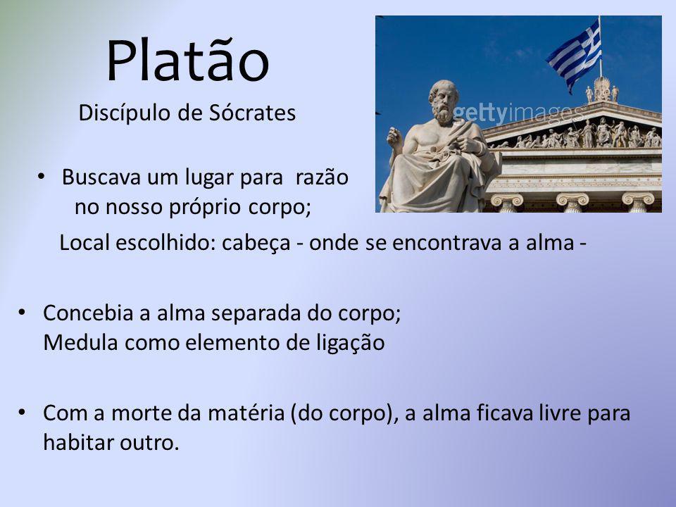 Platão Discípulo de Sócrates Local escolhido: cabeça - onde se encontrava a alma - Concebia a alma separada do corpo; Medula como elemento de ligação
