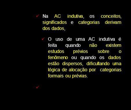 Na AC indutiva, os conceitos, significados e categorias derivam dos dados, O uso de uma AC indutiva é feita quando não existem estudos prévios sobre o fenômeno ou quando os dados estão dispersos, dificultando uma lógica de alocação por categorias formais ou prévias.