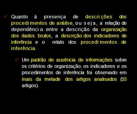 Quanto à presença de descri ções dos procedi mentos de análise, ou s ej a, a relação de dependênci a entre a descrição da organização dos dados brutos, a descrição dos indicadores de inferência e o relato dos procedi mentos de inferênci a.