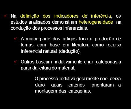 Na definição dos indicadores de inferência, os estudos analisados demonstram heterogeneidade na condução dos processos inferenciais. A maior parte dos
