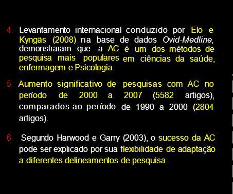 4. Levantamento internacional conduzi do por Elo e Kyngäs (2008) na base de dados Ovid-Medline, demonstraram que a AC pesquisa mais populares enfermag