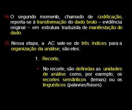 14.O segundo momento, chamado de codificação, reporta-se à transformação do dado bruto – evidência original – em estrutura traduzida de manifestação d