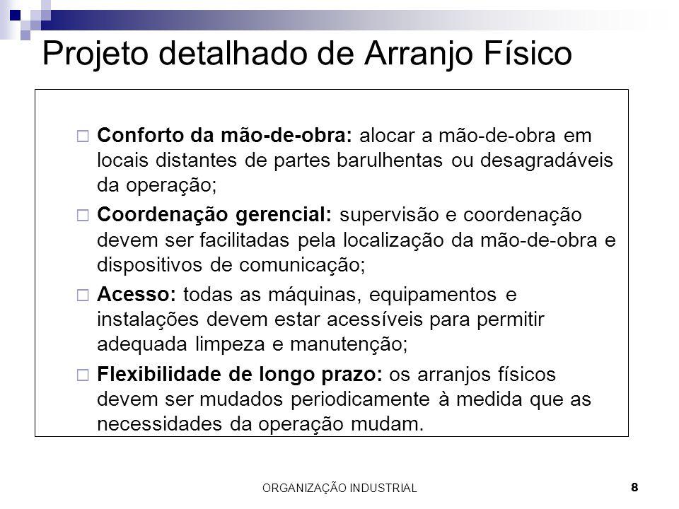 ORGANIZAÇÃO INDUSTRIAL8 Projeto detalhado de Arranjo Físico Conforto da mão-de-obra: alocar a mão-de-obra em locais distantes de partes barulhentas ou