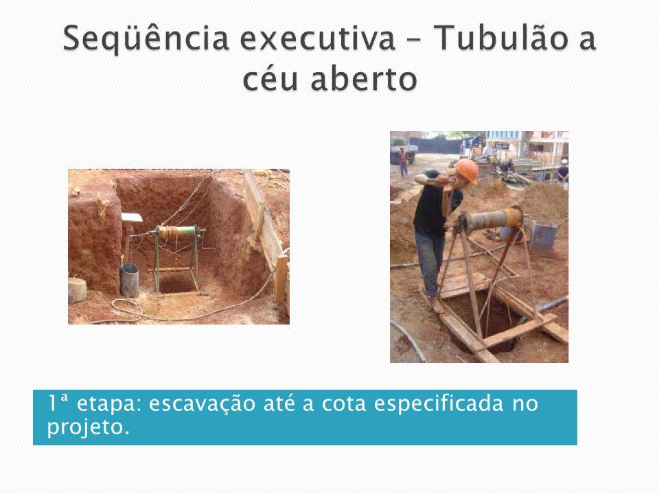 1ª etapa: escavação até a cota especificada no projeto.