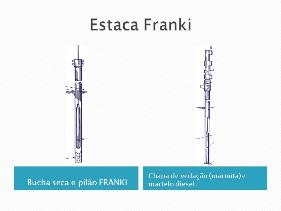 Bucha seca e pilão FRANKI Chapa de vedação (marmita) e martelo diesel.