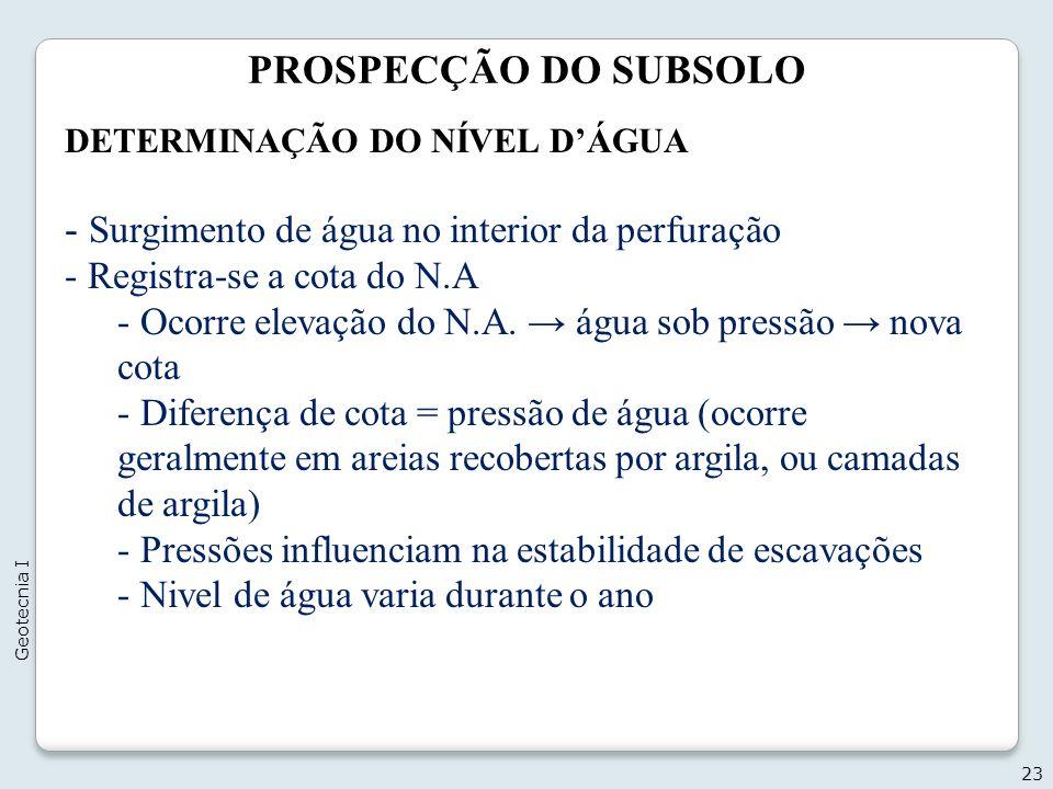 PROSPECÇÃO DO SUBSOLO 23 Geotecnia I DETERMINAÇÃO DO NÍVEL DÁGUA - Surgimento de água no interior da perfuração - Registra-se a cota do N.A - Ocorre e