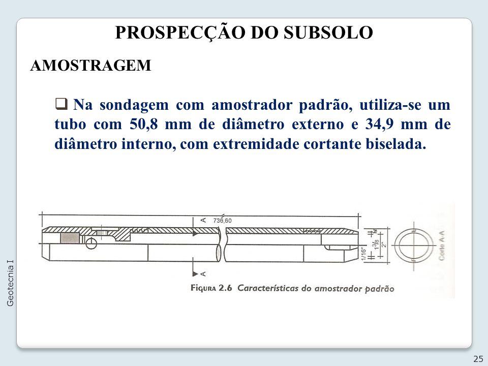 PROSPECÇÃO DO SUBSOLO 25 Geotecnia I AMOSTRAGEM Na sondagem com amostrador padrão, utiliza-se um tubo com 50,8 mm de diâmetro externo e 34,9 mm de diâ