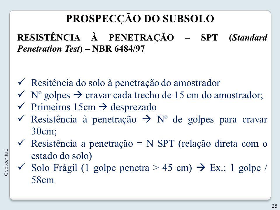 PROSPECÇÃO DO SUBSOLO 28 Geotecnia I RESISTÊNCIA À PENETRAÇÃO – SPT (Standard Penetration Test) – NBR 6484/97 Resitência do solo à penetração do amost