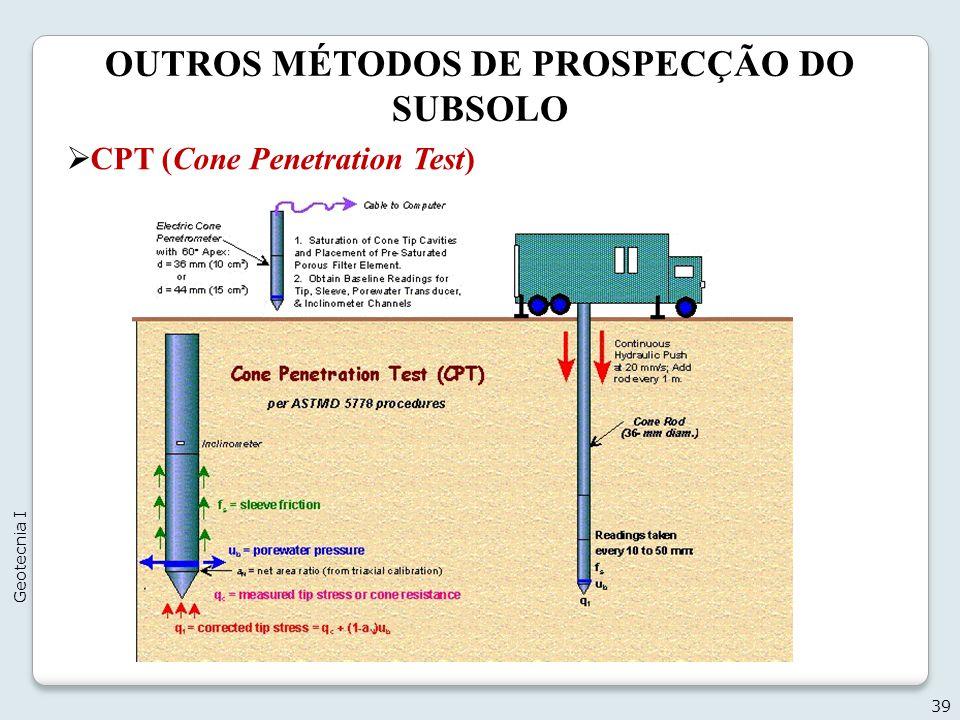 OUTROS MÉTODOS DE PROSPECÇÃO DO SUBSOLO 39 Geotecnia I CPT (Cone Penetration Test)