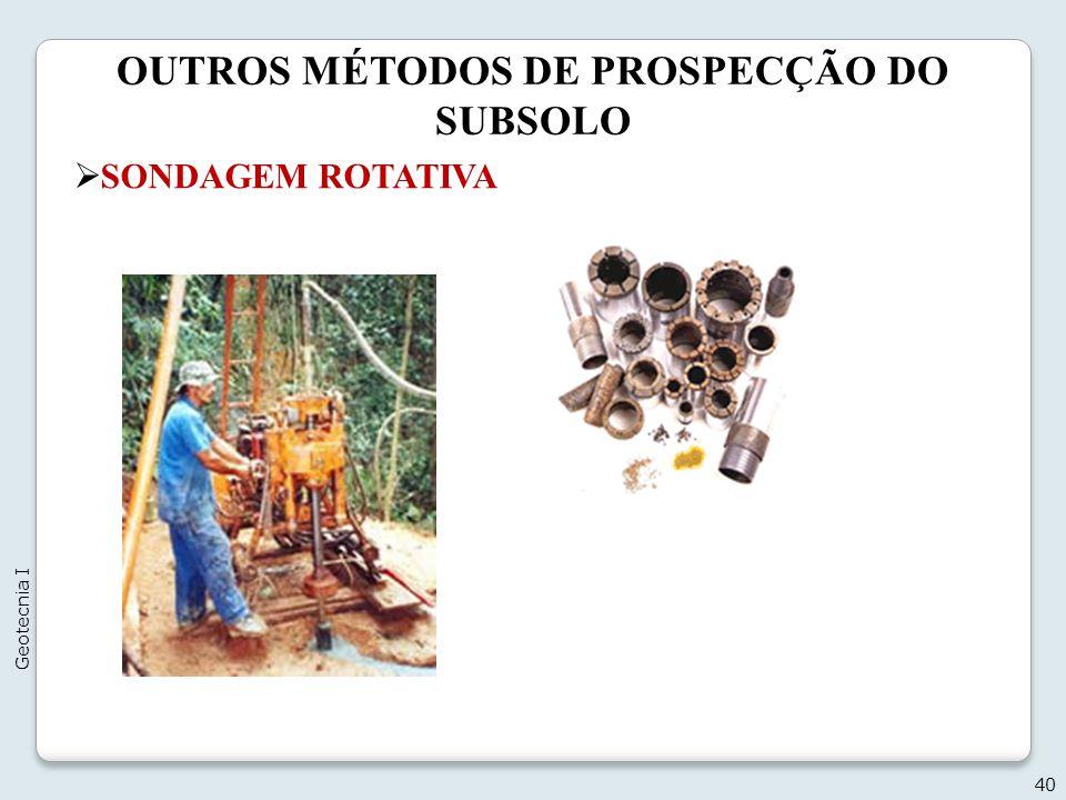 OUTROS MÉTODOS DE PROSPECÇÃO DO SUBSOLO 40 Geotecnia I SONDAGEM ROTATIVA