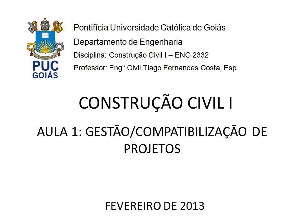 AULA 1: GESTÃO/COMPATIBILIZAÇÃO DE PROJETOS FEVEREIRO DE 2013 CONSTRUÇÃO CIVIL I