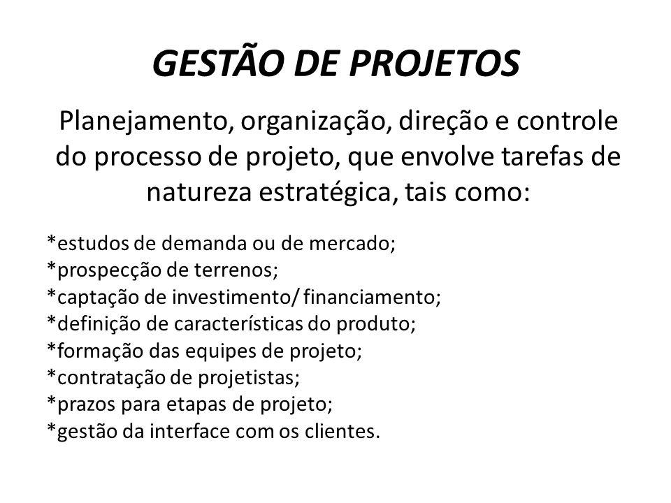 GESTÃO DE PROJETOS Planejamento, organização, direção e controle do processo de projeto, que envolve tarefas de natureza estratégica, tais como: *estu