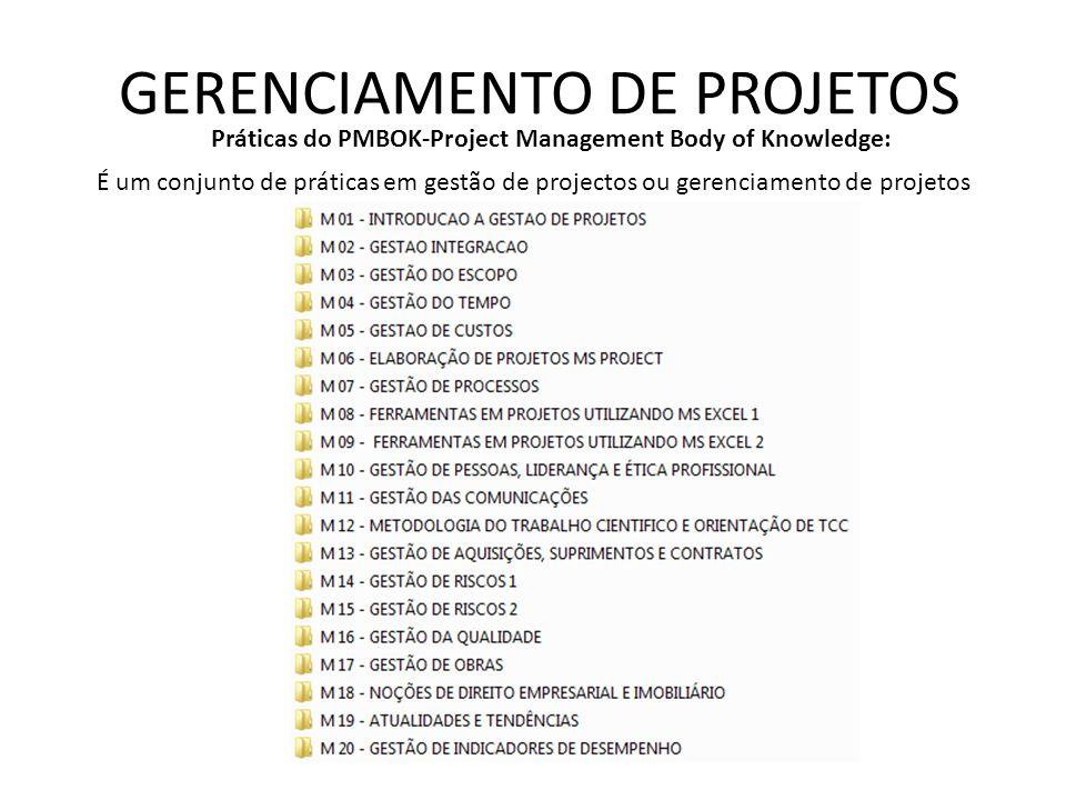 GERENCIAMENTO DE PROJETOS Práticas do PMBOK-Project Management Body of Knowledge: É um conjunto de práticas em gestão de projectos ou gerenciamento de projetos