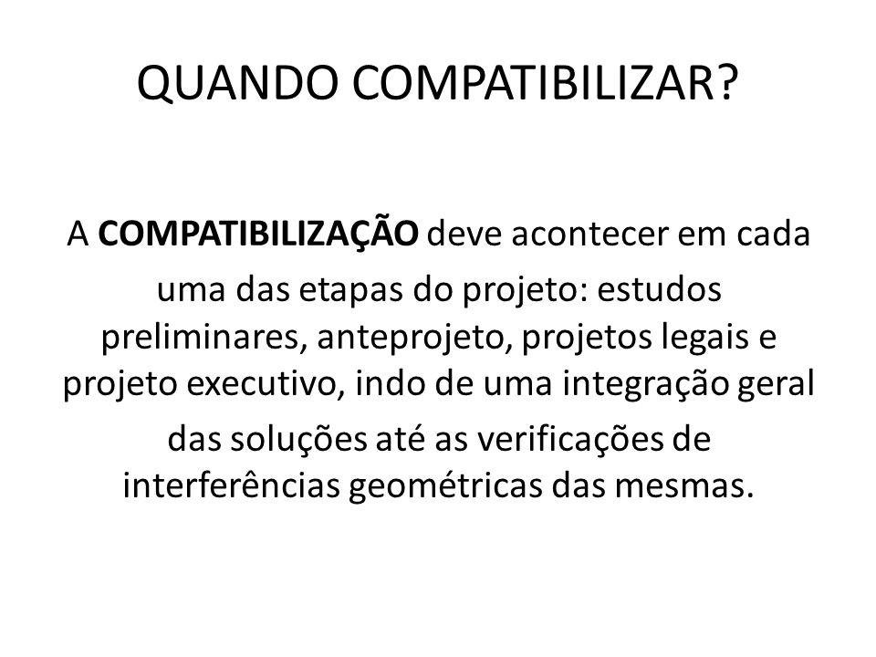 QUANDO COMPATIBILIZAR? A COMPATIBILIZAÇÃO deve acontecer em cada uma das etapas do projeto: estudos preliminares, anteprojeto, projetos legais e proje