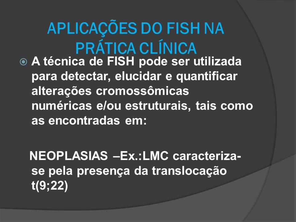 APLICAÇÕES DO FISH NA PRÁTICA CLÍNICA A técnica de FISH pode ser utilizada para detectar, elucidar e quantificar alterações cromossômicas numéricas e/