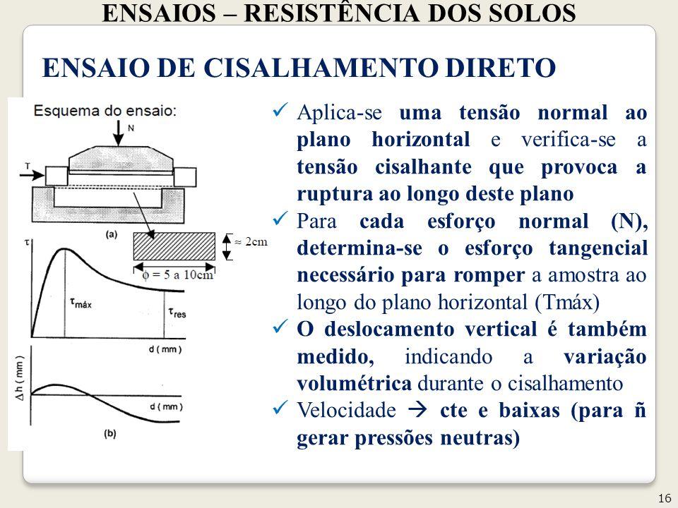 ENSAIOS – RESISTÊNCIA DOS SOLOS 16 Geotecnia II ENSAIO DE CISALHAMENTO DIRETO Aplica-se uma tensão normal ao plano horizontal e verifica-se a tensão c
