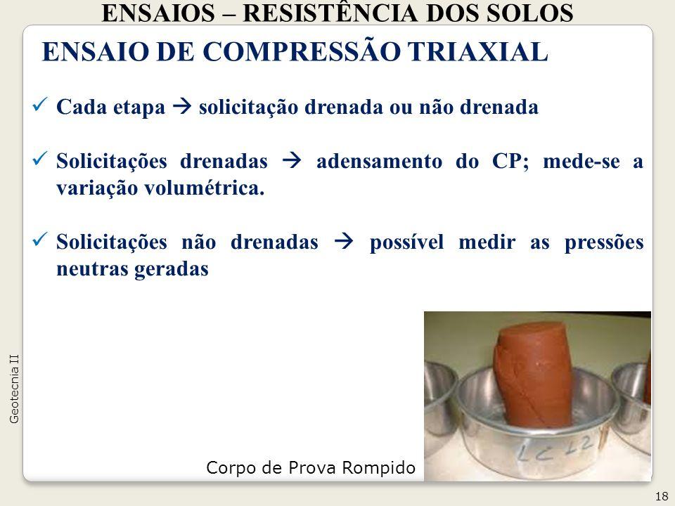 ENSAIOS – RESISTÊNCIA DOS SOLOS 18 Geotecnia II ENSAIO DE COMPRESSÃO TRIAXIAL Cada etapa solicitação drenada ou não drenada Solicitações drenadas aden