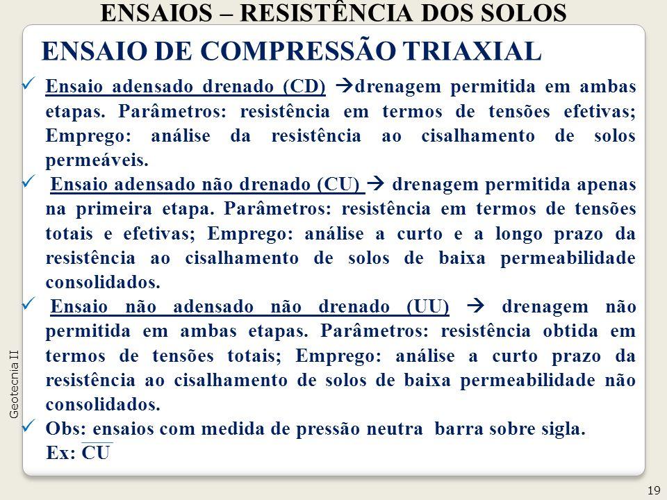ENSAIOS – RESISTÊNCIA DOS SOLOS 19 Geotecnia II ENSAIO DE COMPRESSÃO TRIAXIAL Ensaio adensado drenado (CD) drenagem permitida em ambas etapas. Parâmet