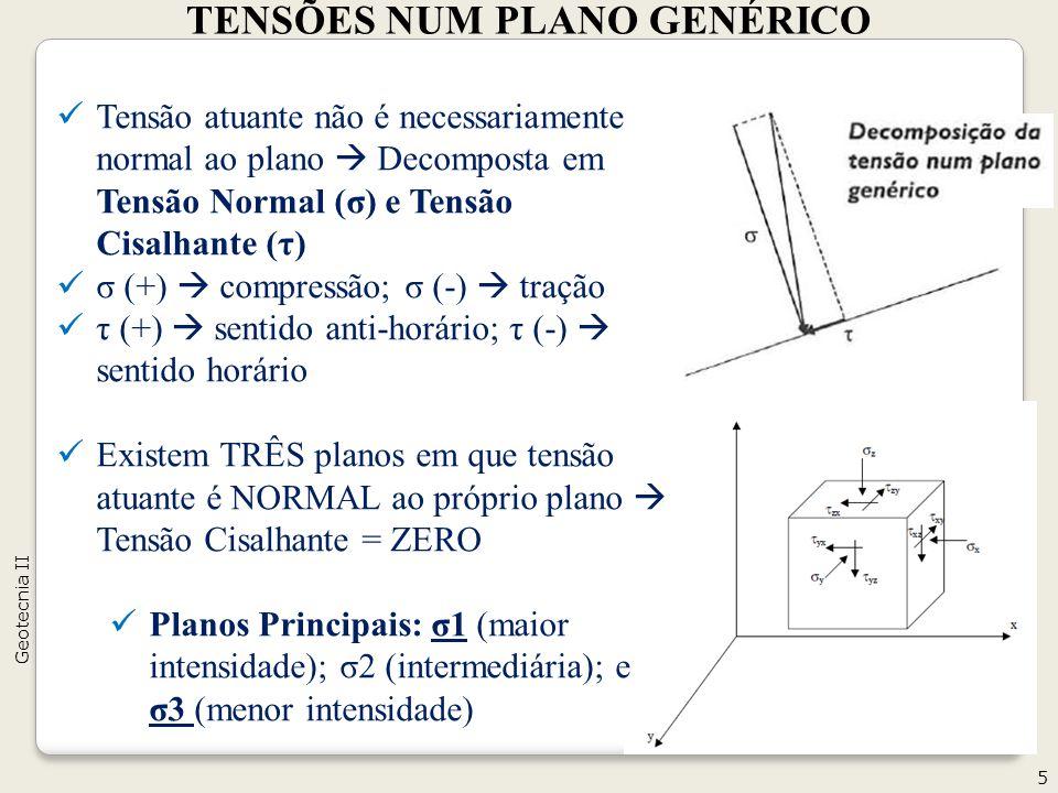 Tensão atuante não é necessariamente normal ao plano Decomposta em Tensão Normal (σ) e Tensão Cisalhante (τ) σ (+) compressão; σ (-) tração τ (+) sent