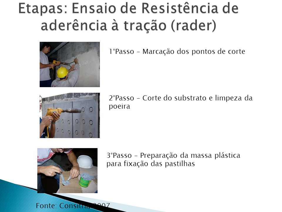 Fonte: Consitra, 2007 1°Passo – Marcação dos pontos de corte 3°Passo – Preparação da massa plástica para fixação das pastilhas 2°Passo – Corte do subs
