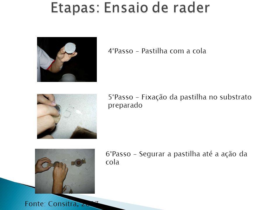 Fonte: Consitra, 2007 4°Passo – Pastilha com a cola 6°Passo – Segurar a pastilha até a ação da cola 5°Passo – Fixação da pastilha no substrato prepara