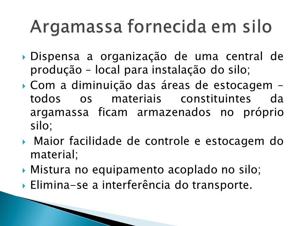 Dispensa a organização de uma central de produção – local para instalação do silo; Com a diminuição das áreas de estocagem – todos os materiais consti