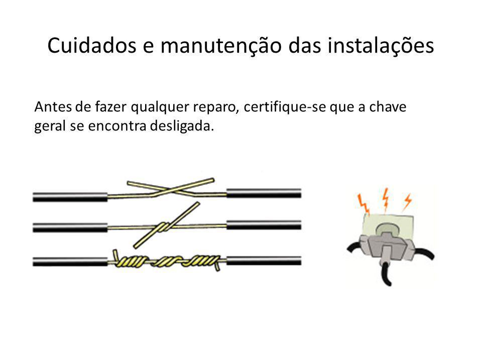 Cuidados e manutenção das instalações Antes de fazer qualquer reparo, certifique-se que a chave geral se encontra desligada.
