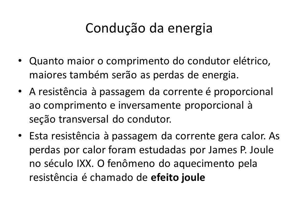 Condução da energia Quanto maior o comprimento do condutor elétrico, maiores também serão as perdas de energia.