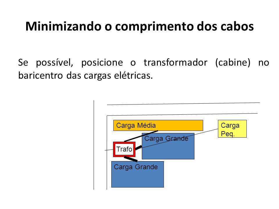 Minimizando o comprimento dos cabos Se possível, posicione o transformador (cabine) no baricentro das cargas elétricas.