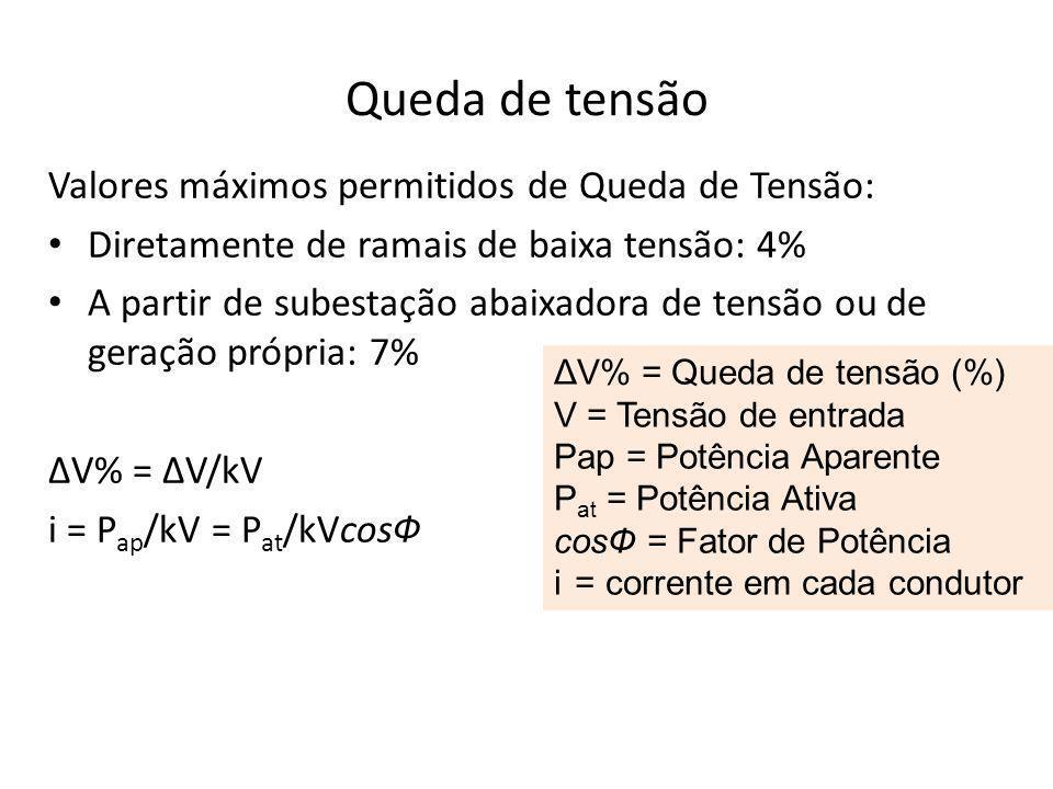 Queda de tensão Valores máximos permitidos de Queda de Tensão: Diretamente de ramais de baixa tensão: 4% A partir de subestação abaixadora de tensão ou de geração própria: 7% ΔV% = ΔV/kV i = P ap /kV = P at /kVcosФ ΔV% = Queda de tensão (%) V = Tensão de entrada Pap = Potência Aparente P at = Potência Ativa cosФ = Fator de Potência i = corrente em cada condutor