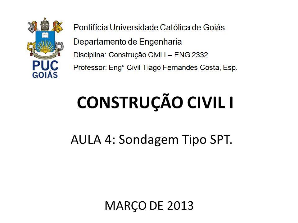 AULA 4: Sondagem Tipo SPT. MARÇO DE 2013 CONSTRUÇÃO CIVIL I