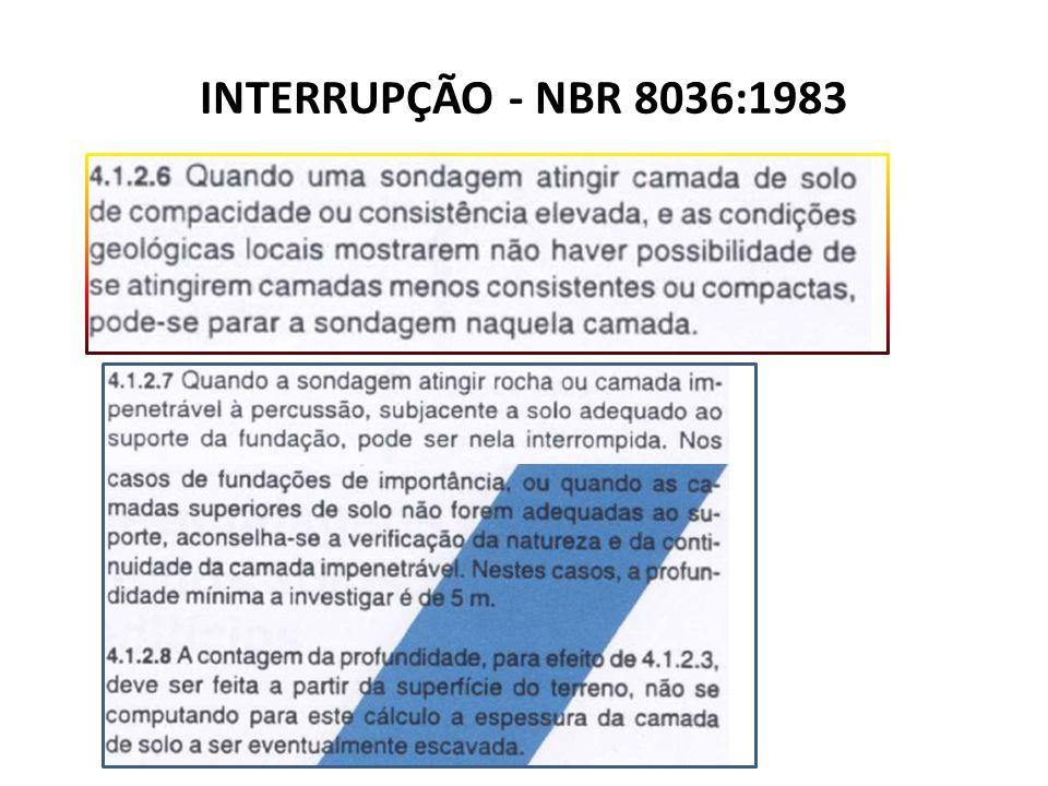 INTERRUPÇÃO - NBR 8036:1983