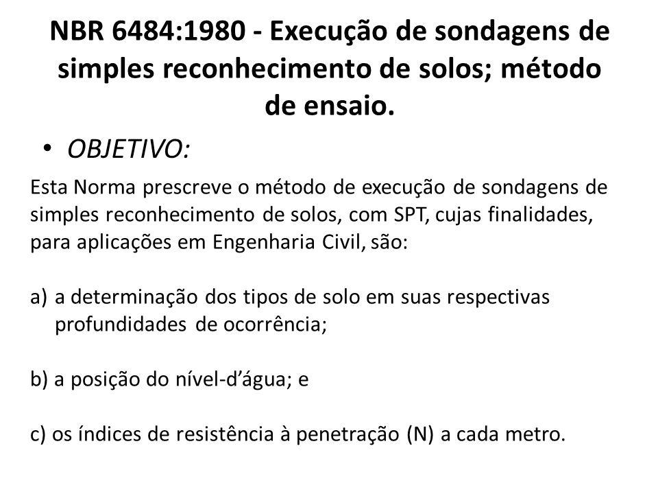 NBR 6484:1980 - Execução de sondagens de simples reconhecimento de solos; método de ensaio. OBJETIVO: Esta Norma prescreve o método de execução de son